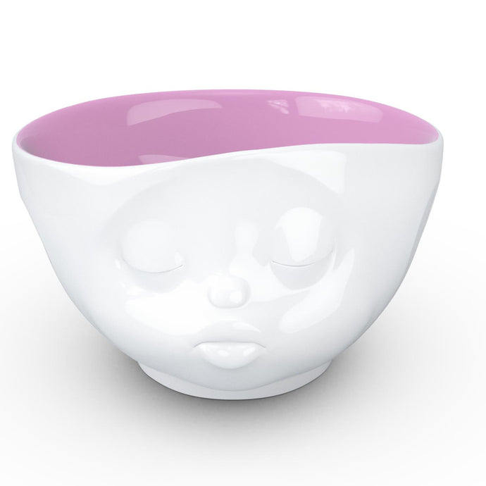 16 ounce capacity porcelain bowl in white with berry color inside featuring a sculpted 'kissing' facial expression. From the TASSEN product family of fun dishware by FIFTYEIGHT Products. Quality bowl perfect for serving cereal, soup, snacks and much more.