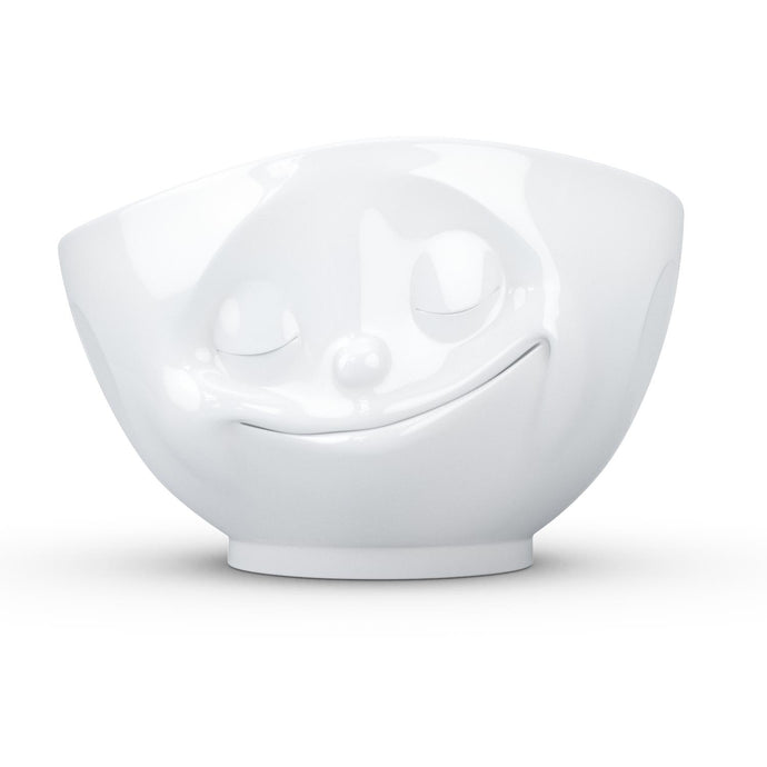 16 ounce capacity porcelain bowl featuring a sculpted 'happy' facial expression. From the TASSEN product family of fun dishware by FIFTYEIGHT Products. Quality bowl perfect for serving cereal, soup, snacks and much more.