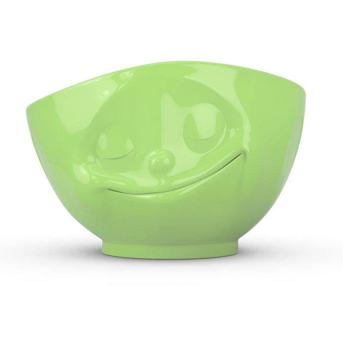 16 ounce capacity porcelain bowl in light green color featuring a sculpted 'happy' facial expression. From the TASSEN product family of fun dishware by FIFTYEIGHT Products. Quality bowl perfect for serving cereal, soup, snacks and much more.