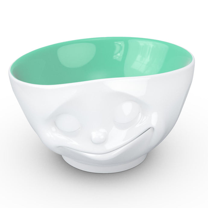 16 ounce capacity porcelain bowl in white with jade color on the inside featuring a sculpted 'happy' facial expression. From the TASSEN product family of fun dishware by FIFTYEIGHT Products. Quality bowl perfect for serving cereal, soup, snacks and much more.