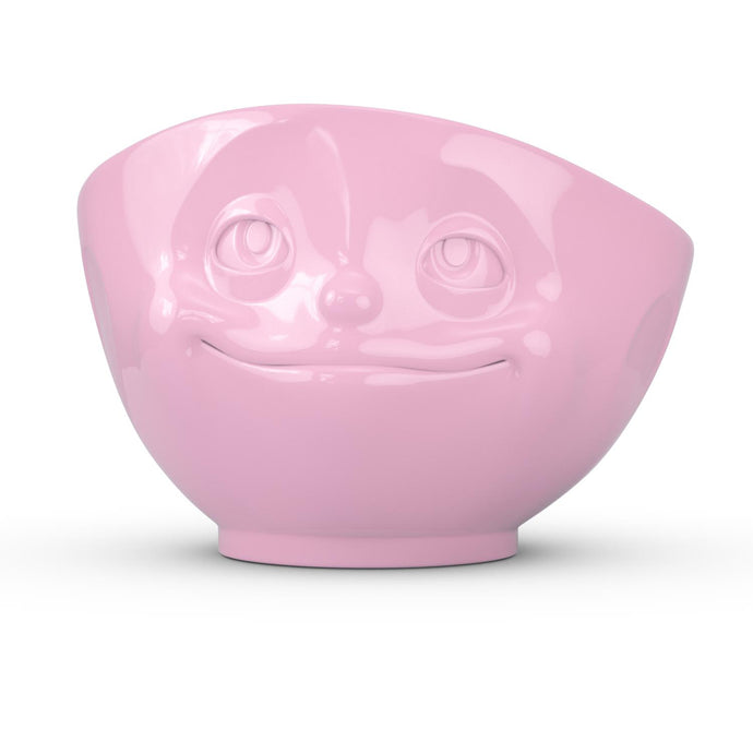16 ounce capacity porcelain bowl in pink color featuring a sculpted 'dreamy' facial expression. From the TASSEN product family of fun dishware by FIFTYEIGHT Products. Quality bowl perfect for serving cereal, soup, snacks and much more.