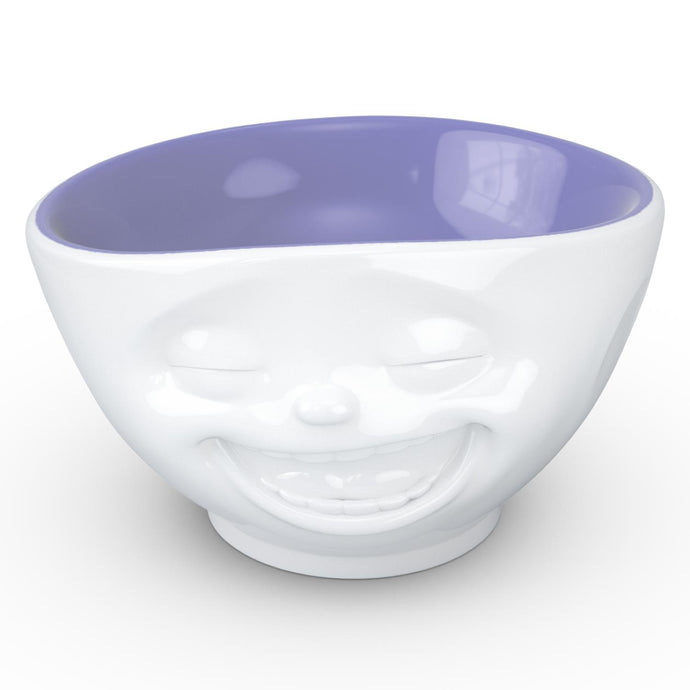 16 ounce capacity porcelain bowl in white with Lavender Color Inside featuring a sculpted 'laughing' facial expression. From the TASSEN product family of fun dishware by FIFTYEIGHT Products. Quality bowl perfect for serving cereal, soup, snacks and much more.