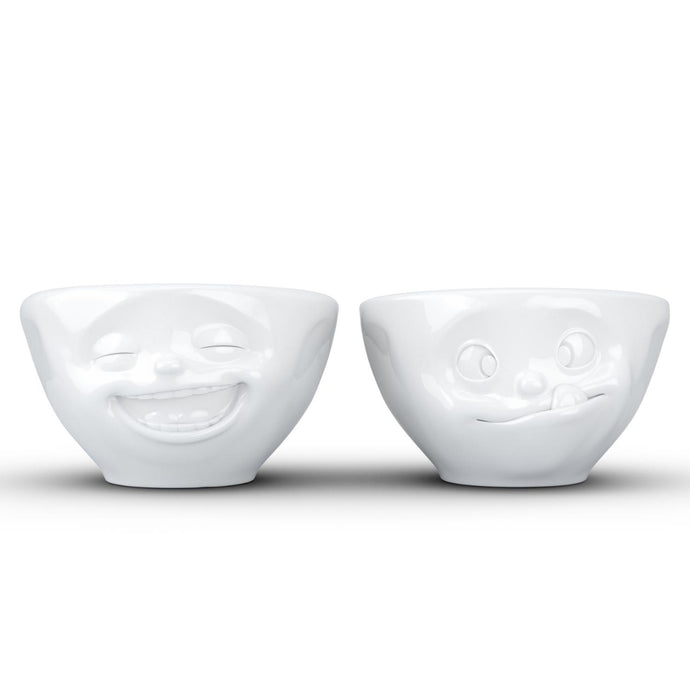 Set of two 3.3 oz. bowls in white featuring sculpted 'laughing' and 'tasty' faces. From the TASSEN product family of fun dishware by FIFTYEIGHT Products. Quality bowl perfect for serving dips, sauces, nuts, sugar, spices, espresso, jam, marmalade, honey, and more.