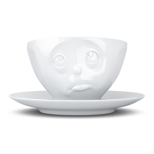 Coffee cup with a 'Oh Please' facial expression and 6.5 oz capacity. From the TASSEN product family of fun dishware by FIFTYEIGHT Products. Coffee cup with matching saucer crafted from quality porcelain.