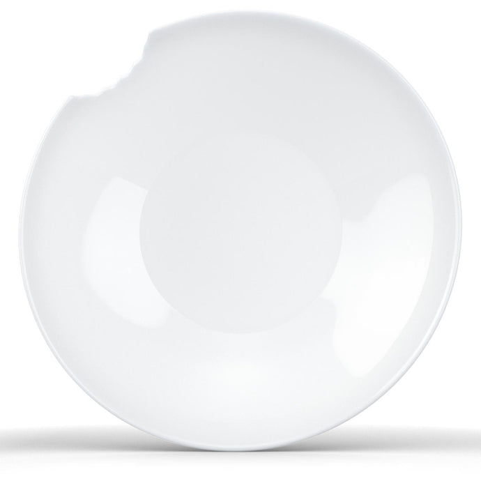 Set of two premium porcelain small deep plates in white with a 'bite mark' cutout at the edge. Dishwasher and microwave safes plate with a compact 7.1 inch diameter. From the TASSEN product family of fun dishware by FIFTYEIGHT Products. Made in Germany according to environmental standards.