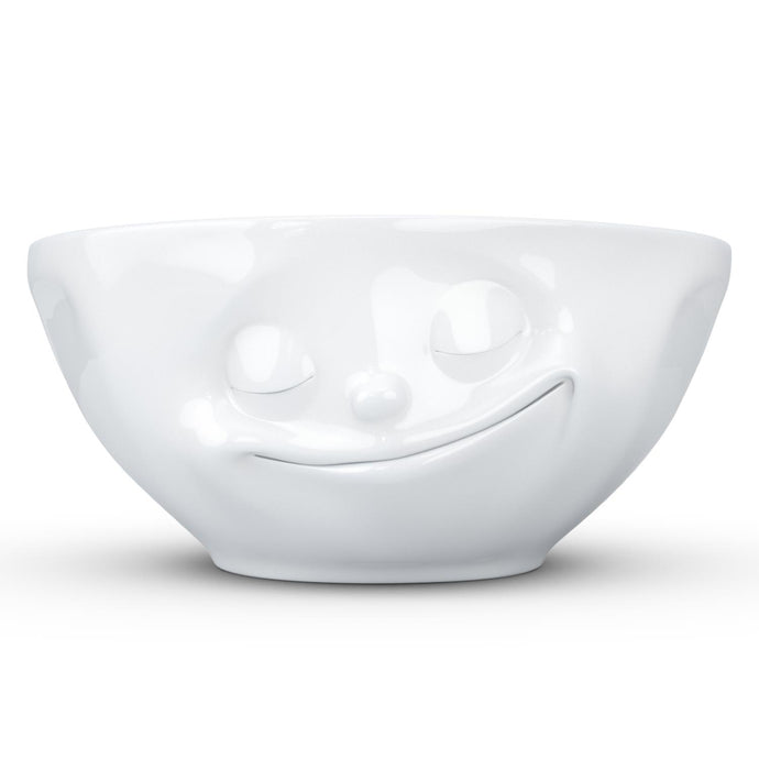 Versatile 11 ounce capacity porcelain bowl in white featuring a sculpted 'happy' facial expression. From the TASSEN product family of fun dishware by FIFTYEIGHT Products. Quality bowl perfect for ice cream to tapas, nuts and hearty dips.
