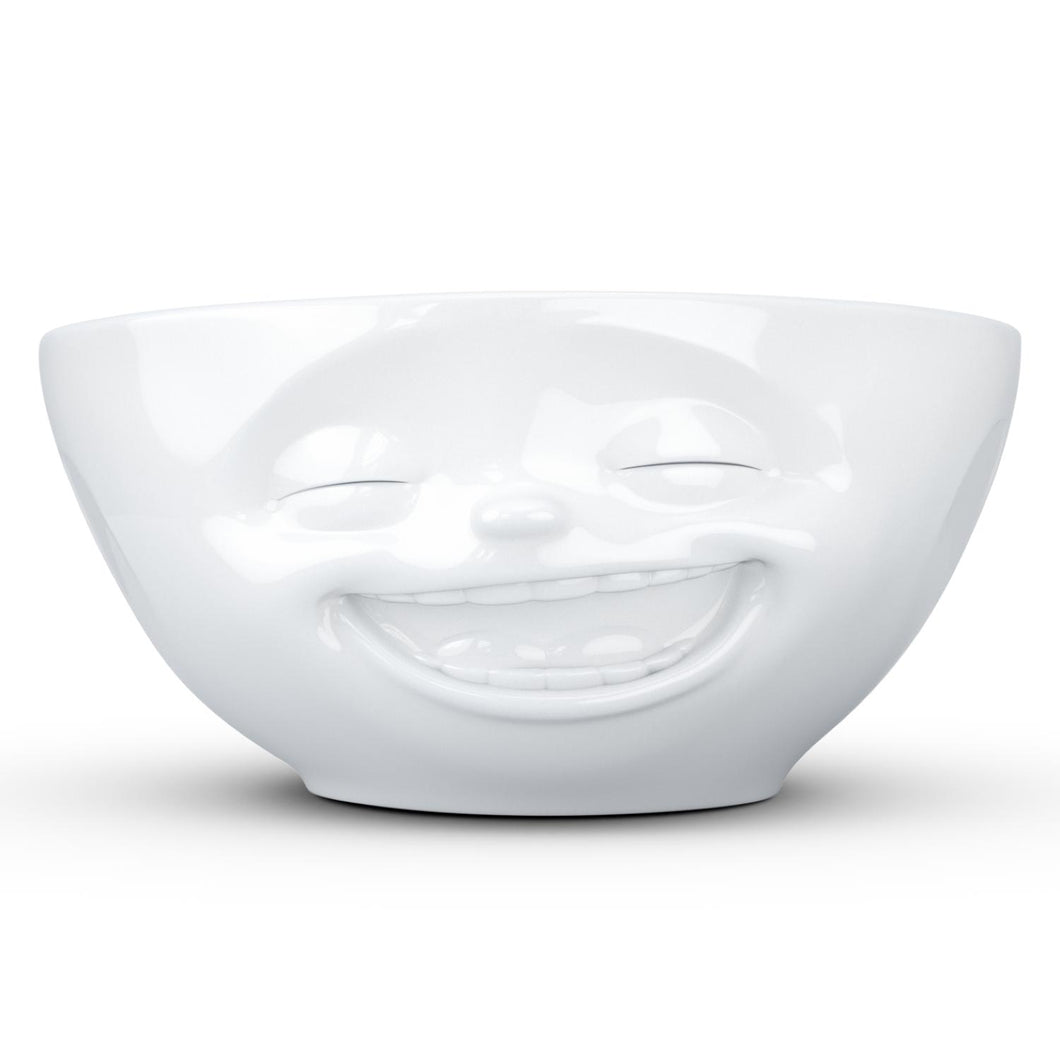 Versatile 11 ounce capacity porcelain bowl in white featuring a sculpted 'laughing' facial expression. From the TASSEN product family of fun dishware by FIFTYEIGHT Products. Quality bowl perfect for ice cream to tapas, nuts and hearty dips.