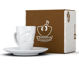 Espresso cup with 'impish' facial expression and 2.7 oz capacity. From the TASSEN product family of fun dishware by FIFTYEIGHT Products. Espresso mug with matching saucer crafted from quality porcelain.