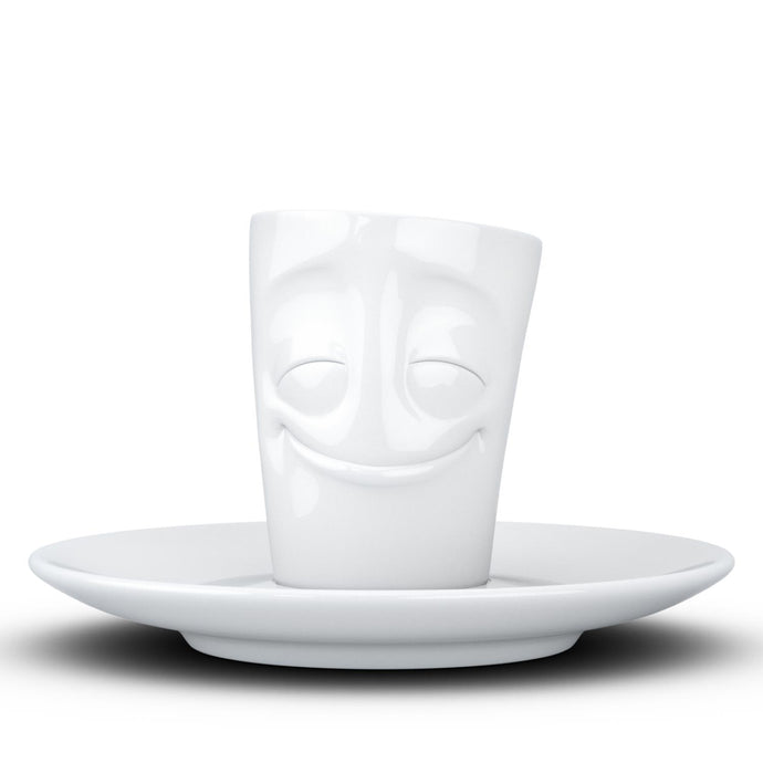 Espresso cup with 'cheery' facial expression and 2.7 oz capacity. From the TASSEN product family of fun dishware by FIFTYEIGHT Products. Espresso mug with matching saucer crafted from quality porcelain.