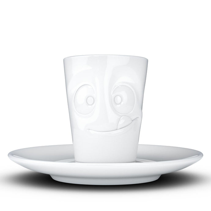 Espresso cup with 'tasty' facial expression and 2.7 oz capacity. From the TASSEN product family of fun dishware by FIFTYEIGHT Products. Espresso mug with matching saucer crafted from quality porcelain.