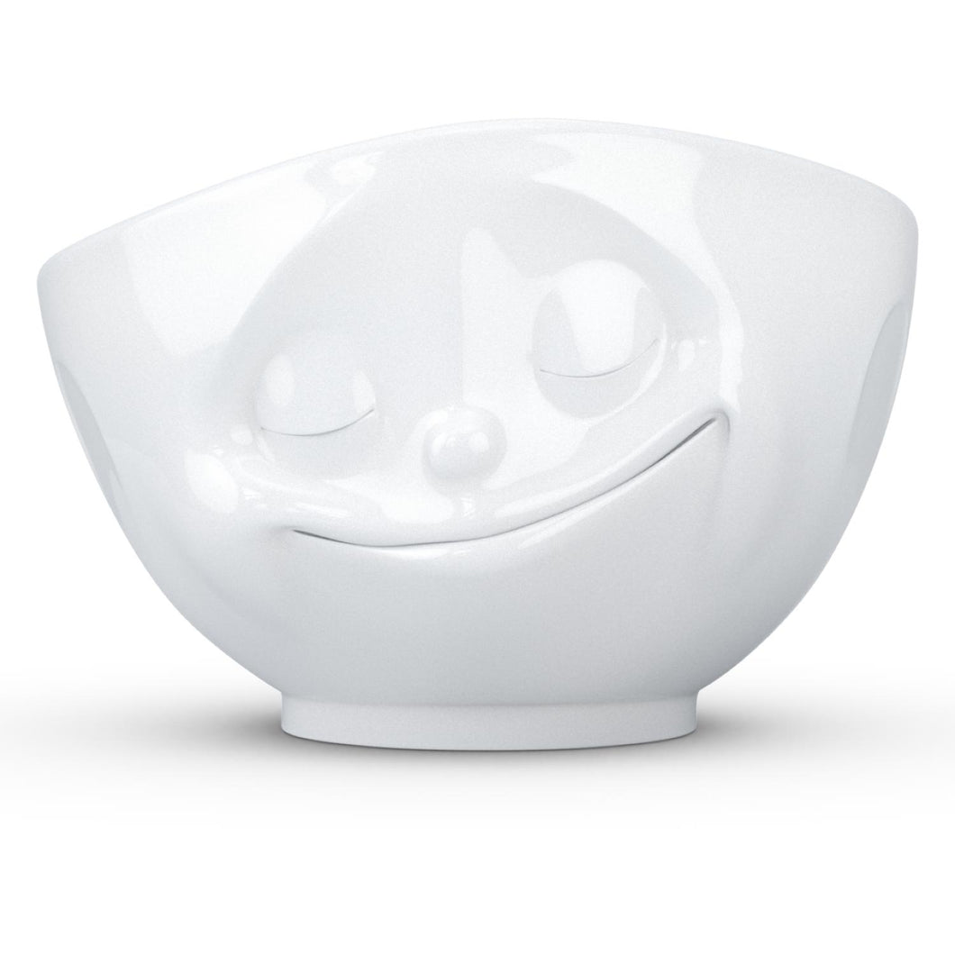 Extra large 33 ounce capacity porcelain bowl in white featuring a sculpted 'happy' facial expression. From the TASSEN product family of fun dishware by FIFTYEIGHT Products. Quality bowl perfect for serving cereal, soup, snacks and much more.
