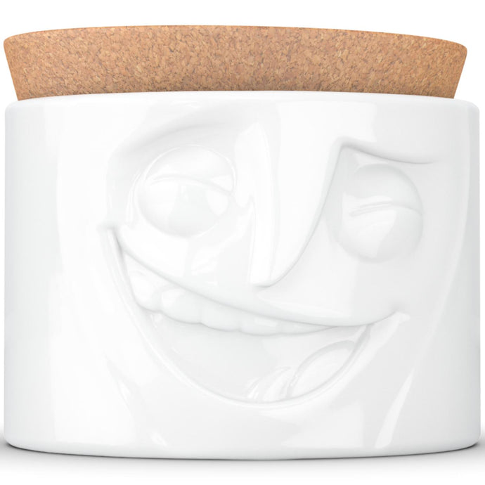 Quality porcelain storage jar with 30 oz. capacity and a 'cheerful' facial expression. Closes securely with a natural cork lid. Dishwasher and microwave-safe (except for cork lid).From the TASSEN product family of fun dishware by FIFTYEIGHT Products. Made in Germany according to environmental standards.standards.