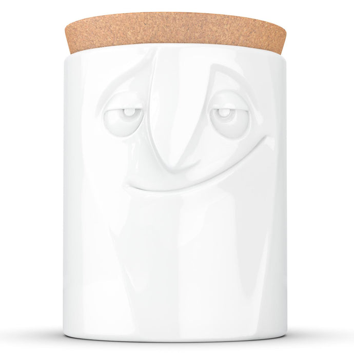 Quality porcelain storage jar with 57 oz. capacity and a 'charming' facial expression. Closes securely with a natural cork lid. Dishwasher and microwave-safe (except for cork lid).From the TASSEN product family of fun dishware by FIFTYEIGHT Products. Made in Germany according to environmental standards.standards.
