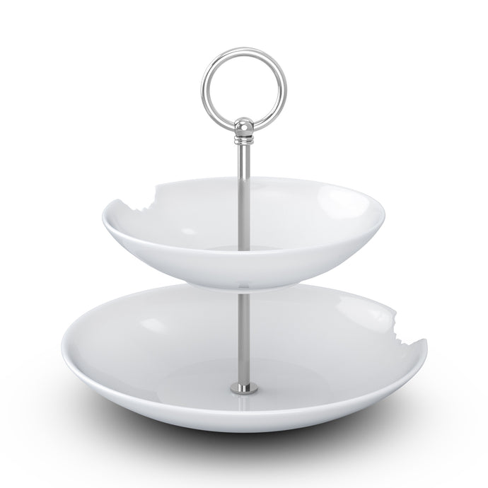 The two-Tiered Serving Platter brings tons of fun to the table. Features two deep plates with fun bite marks mounted on a pole. Perfect for building a grand seafood tower! From the TASSEN product family of fun dishware by FIFTYEIGHT Products. Made in Germany according to environmental standards.