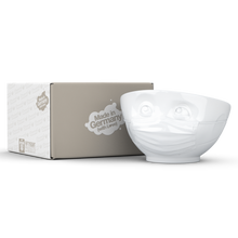 Load image into Gallery viewer, Premium porcelain bowl in white from the TASSEN product family of fun dishware by FIFTYEIGHT Products. Offers 16 oz capacity perfect for serving cereal, soup, snacks and much more. Dishwasher and microwave safe bowl featuring a sculpted 'hopeful' facial expression and mask. Shipped in exclusively designed gift box.