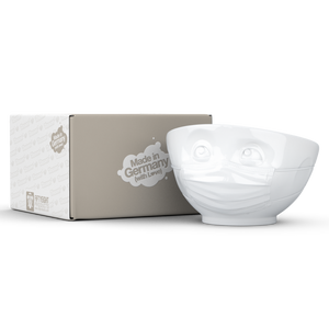Premium porcelain bowl in white from the TASSEN product family of fun dishware by FIFTYEIGHT Products. Offers 16 oz capacity perfect for serving cereal, soup, snacks and much more. Dishwasher and microwave safe bowl featuring a sculpted 'hopeful' facial expression and mask. Shipped in exclusively designed gift box.