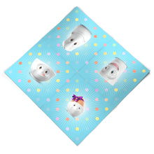 "Load image into Gallery viewer, Pack of 20 disposable paper napkins in transparent packaging. Colorful paper napkins featuring zany TASSEN artwork in ""Kid's B-Day Party"" design in blue. 9.6 by 9.6 inches in size and Made in Germany according to environmental standards."