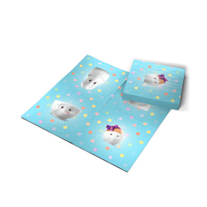"Pack of 20 disposable paper napkins in transparent packaging. Colorful paper napkins featuring zany TASSEN artwork in ""Kid's B-Day Party"" design in blue. 9.6 by 9.6 inches in size and Made in Germany according to environmental standards."