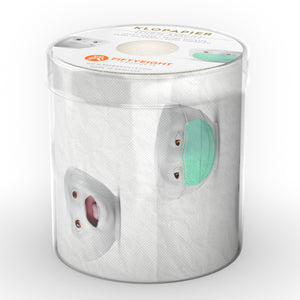Roll of toilet paper with printed TASSEN character design. Package diameter 4.3 inch, Height 4.1 inches, Weight 0.28 lbs. Single roll of soft toilet paper ships in a transparent gift box. Made in Germany according to environmental standards.