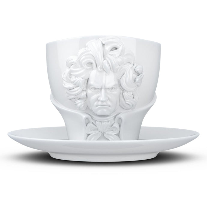 Premium porcelain coffee cup with saucer in white with sculpted Ludwig van Beethoven face. Dishwasher and microwave safe cup at 8.7 oz capacity. From the TALENT product family of cups dedicated to creative geniuses by FIFTYEIGHT Products.