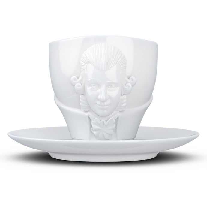 Premium porcelain coffee cup with saucer in white with sculpted Wolfgang Amadeus Mozart face. Dishwasher and microwave safe cup at 8.7 oz capacity. From the TALENT product family of cups dedicated to creative geniuses by FIFTYEIGHT Products.