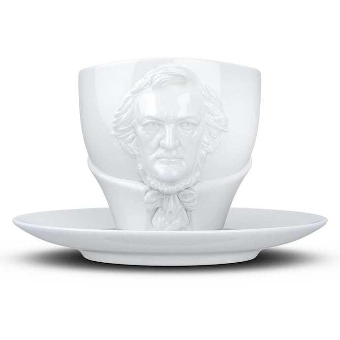 Premium porcelain coffee cup with saucer in white with sculpted Richard Wagner face. Dishwasher and microwave safe cup at 8.7 oz capacity. From the TALENT product family of cups dedicated to creative geniuses by FIFTYEIGHT Products.