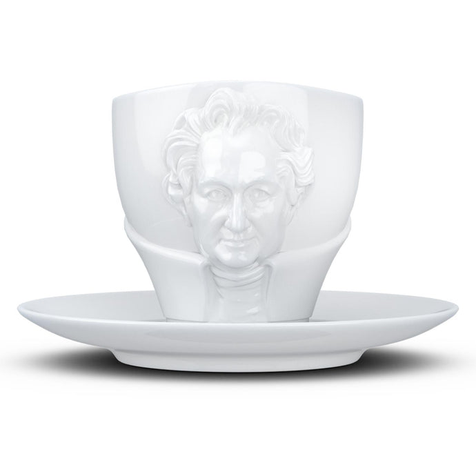 Premium porcelain coffee cup with saucer in white with sculpted Johann Wolfgang von Goethe face. Dishwasher and microwave safe cup at 8.7 oz capacity. From the TALENT product family of cups dedicated to creative geniuses by FIFTYEIGHT Products.