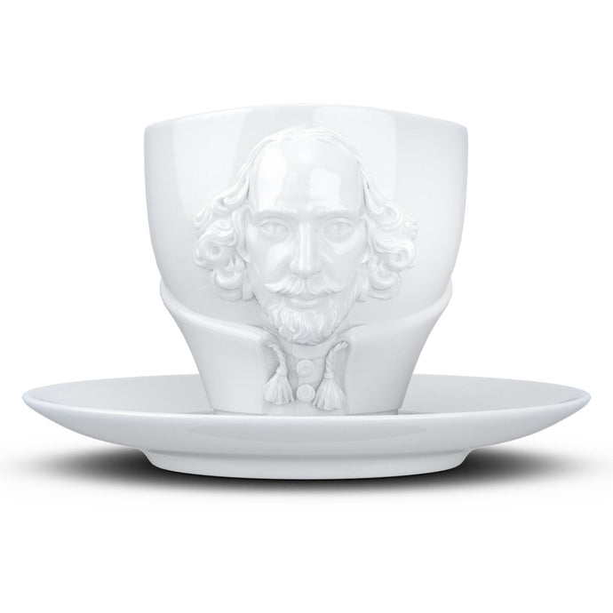 Premium porcelain coffee cup with saucer in white with sculpted William Shakespeare face. Dishwasher and microwave safe cup at 8.7 oz capacity. From the TALENT product family of cups dedicated to creative geniuses by FIFTYEIGHT Products.