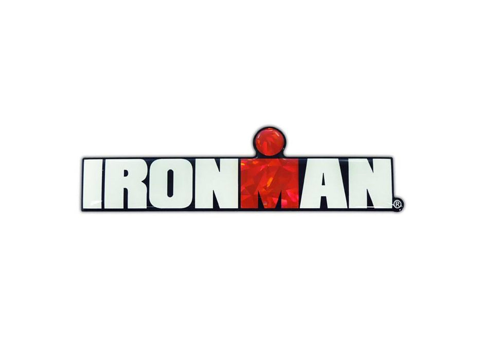 "IRONMAN 3D Reflective Decal 5.5"" x 1.5""."