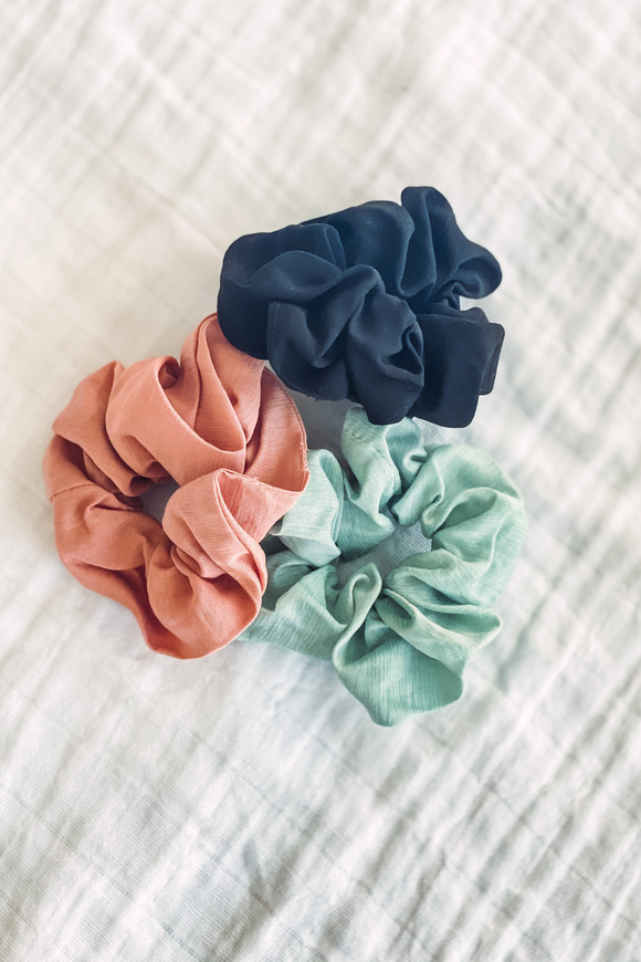Linen scrunchies in three colors