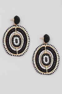 Beaded Black Oval Earrings - Shop Unrivaled