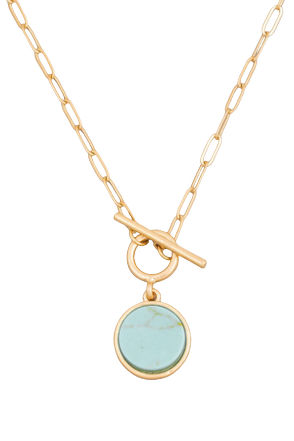 Stone Disc Toggle Chain Necklace