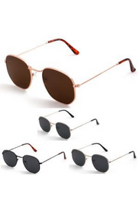 Gold Tear Drop Sunglasses with Brown Lens