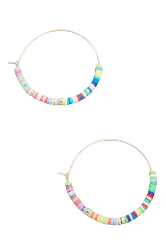 Flat Disc Bead Hoop Earrings