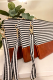 Stripe and Leather Wristlet
