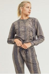 Brenna Snake Print Lounge Top - Shop Unrivaled