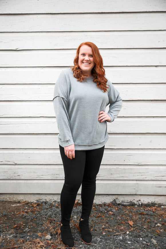 Anna Basic Grey Long Sleeve - PLUS - Shop Unrivaled