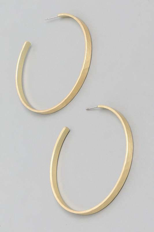 Gold Matte Flat Hoop Earrings - Shop Unrivaled
