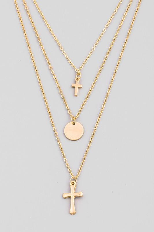 Dainty Layered Cross Pendant Necklace - Shop Unrivaled