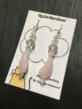 Load image into Gallery viewer, Clear Crystal Glass Dangle Earrings with Pink Glass Bead Droplet