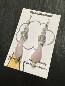 Clear Crystal Glass Dangle Earrings with Pink Glass Bead Droplet