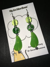 Load image into Gallery viewer, Green Crystal Glass and Green Bead Dangle Earrings