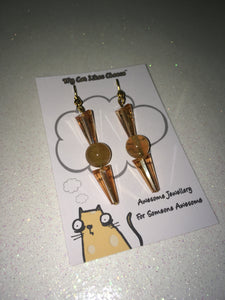 Brown/Orange Cone Shaped Crystal Glass Bead Dangle Earrings