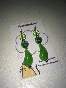 Green Crystal Glass and Green Bead Dangle Earrings