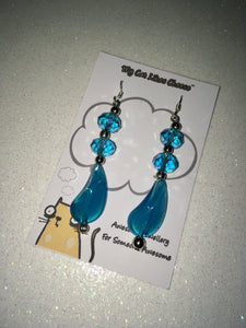 Turquoise Blue Crystal Glass Dangle Earrings with Blue Glass Bead Droplet