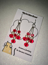 Load image into Gallery viewer, Red Glass Bead and Faux Pearl Dangle Earrings
