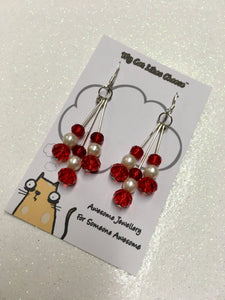 Red Glass Bead and Faux Pearl Dangle Earrings