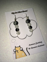 Load image into Gallery viewer, Black and Clear Glass Bead Dangle Earrings