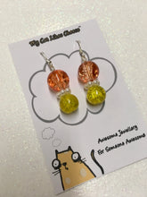 Load image into Gallery viewer, Round Orange, Clear and Yellow Crackled Glass Bead Dangle Necklace and Earring set