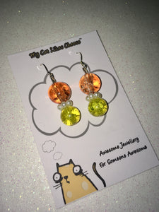 Round Orange, Clear and Yellow Crackled Glass Bead Dangle Necklace and Earring set